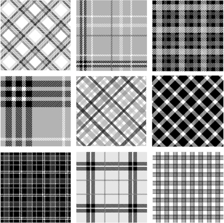 Black & white plaid patterns set Vector