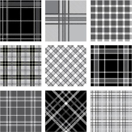 Black & white plaid patterns set Stock Vector - 9905288
