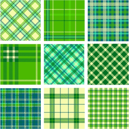 9 plaid patterns set Stock Vector - 9905289