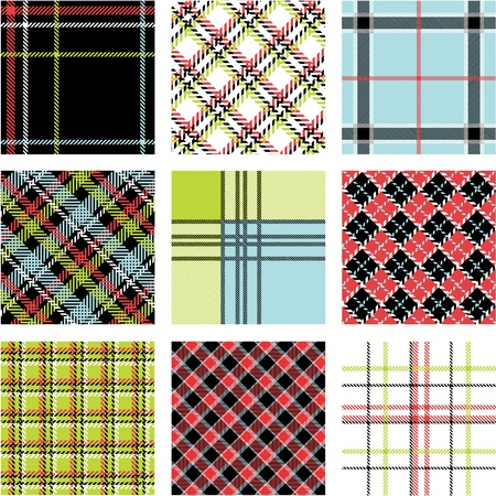9 plaid patterns set Vector