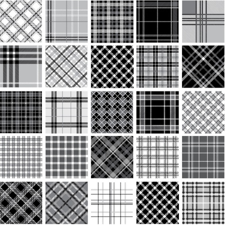 plaid patterns: Big black & white plaid patterns set Illustration