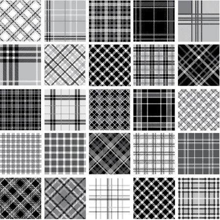 Conjunto de grandes patrones plaid negro & blanco