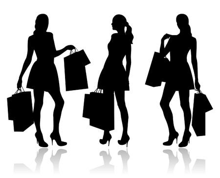 fashion shopping: Las mujeres con bolsas de la compra