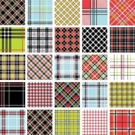 Color plaid patterns set Stock Vector - 10919671
