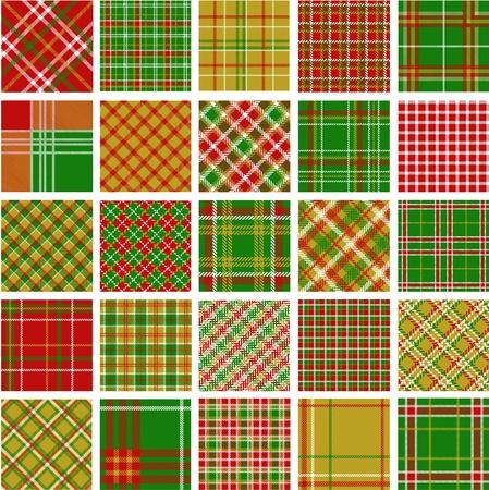クリスマス格子縞パターンの大きなセット  イラスト・ベクター素材