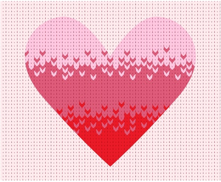 Knitted background with heart Vector