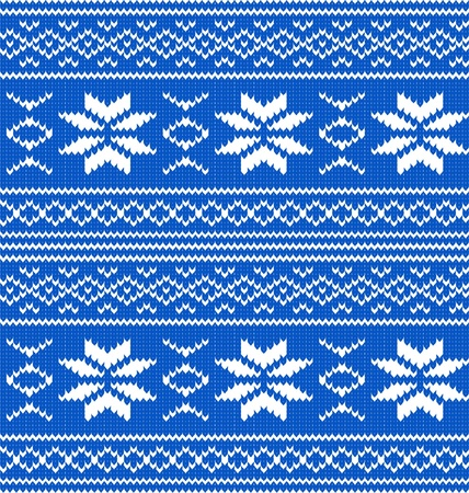 White and blue knitted seamless pattern Stock Vector - 12485243