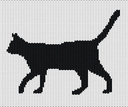 knitted background: Silhouette of cat from knitted texture
