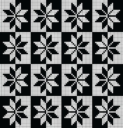 Black and white seamless pattern from norwegian stars Vector