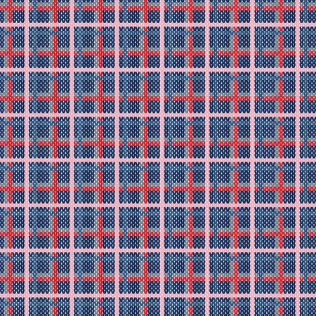 Seamless plaid pattern from knitted texture Vector