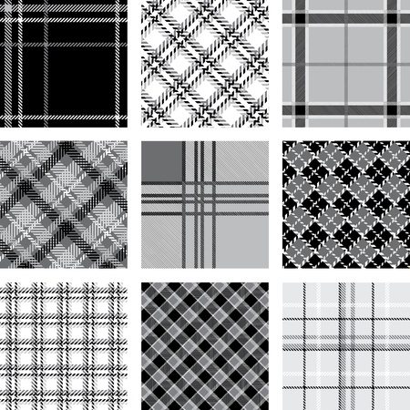 Black and white plaid patterns set Vector