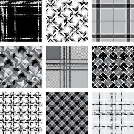 table cloth: Black and white plaid patterns set Illustration