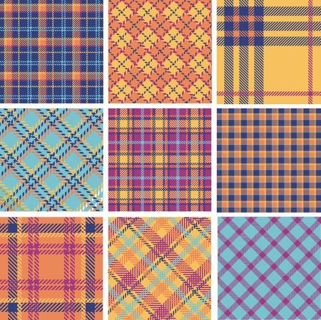 Plaid patterns color set