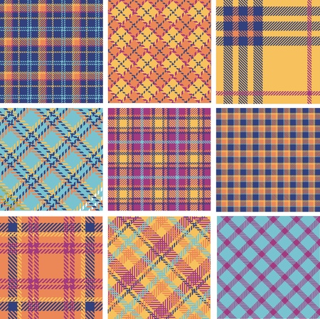 Plaid patterns color set Vector