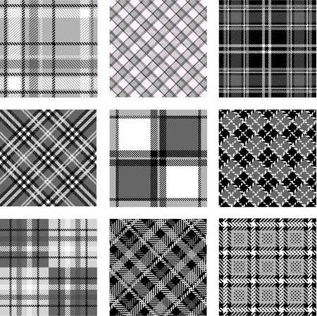 Black and white plaid patterns Vectores