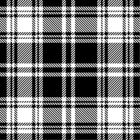 white cloth: Black and white plaid pattern