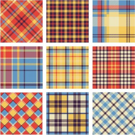 checker: Bright plaid patterns set Illustration