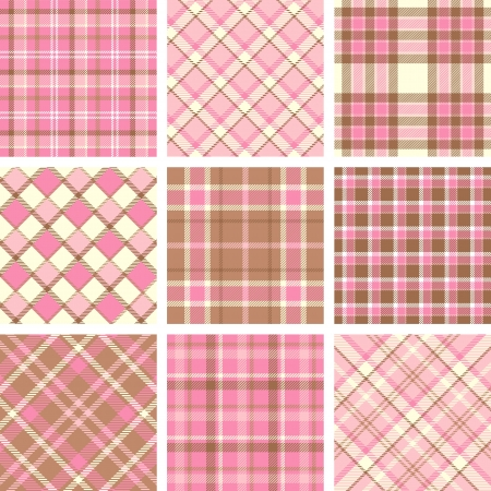 Pink plaid patterns Vector