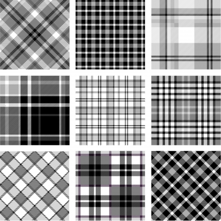 B W plaid patterns set Vector