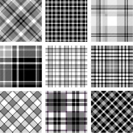 B W plaid patterns set