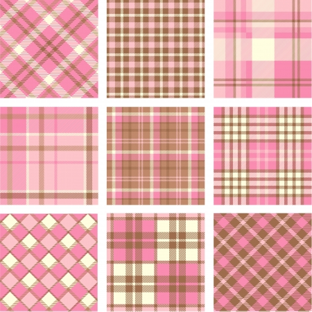 Pink plaid patterns set Vector