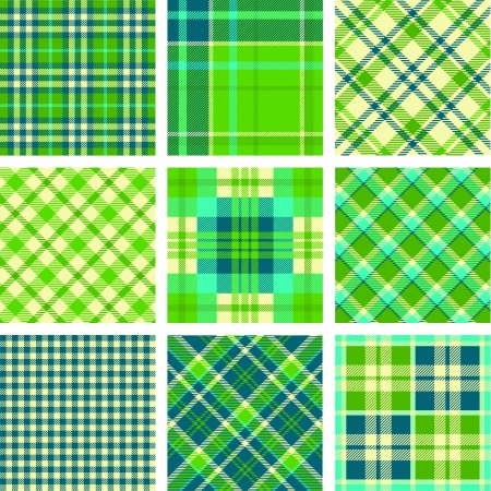 Green tartan vector set