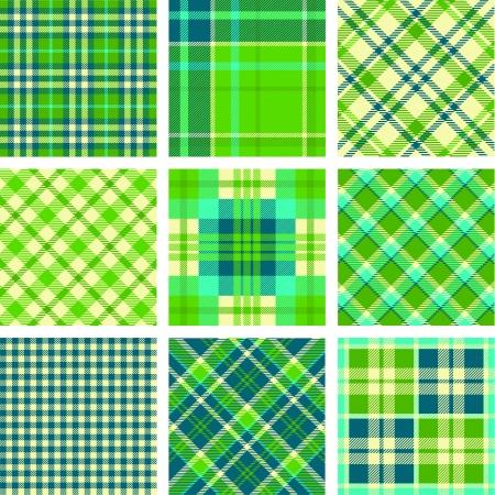 Green tartan vector set