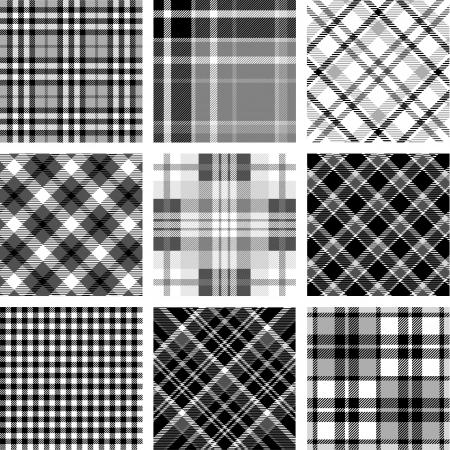 Black & white plaid set Vectores