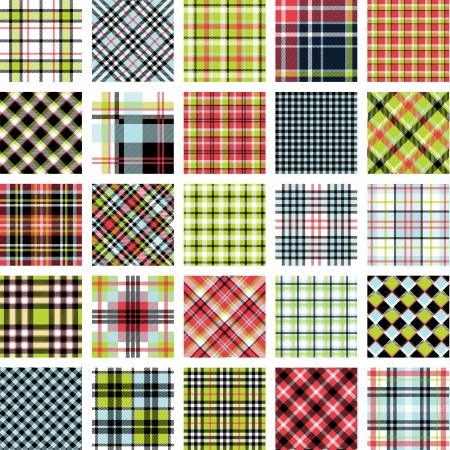 Big plaid pattern set Vectores