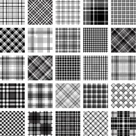 B&W の大きな格子縞のパターン セット  イラスト・ベクター素材