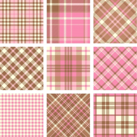 Black & white plaid set Vector
