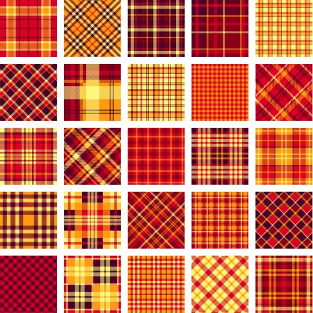 scottish: B&W big plaid pattern set Illustration