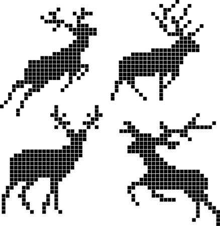 christmas elk: Pixel silhouettes of deers