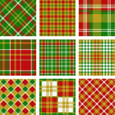 クリスマスの格子縞のパターン  イラスト・ベクター素材