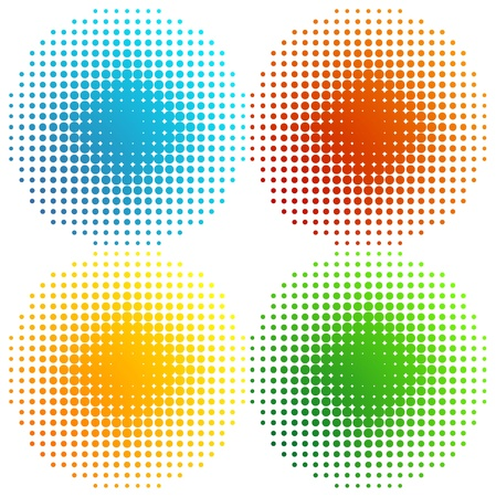 Set of coloured halftones Vector