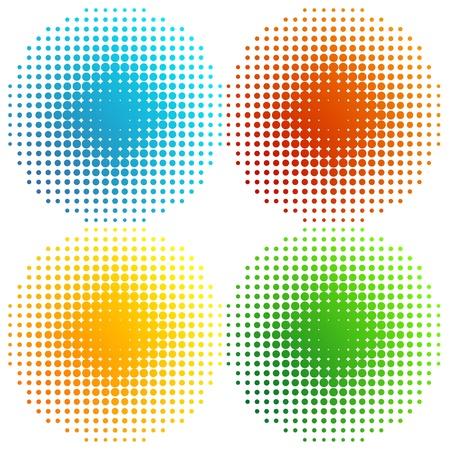 Set of coloured halftones Stock Vector - 14953209