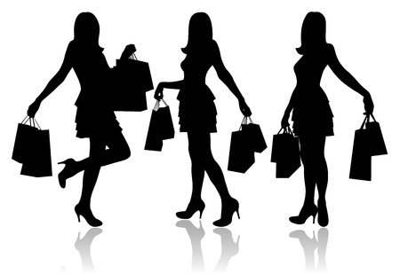 Women with shopping bags Stock Vector - 14953190