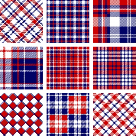 Plaid patterns, american flag colors Illustration
