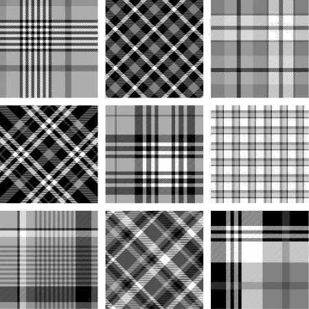 Black and white plaid patterns Stock Vector - 15680189