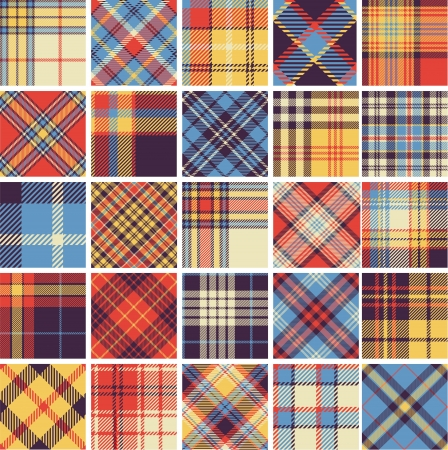 Big set of seamless tartan patterns Vector
