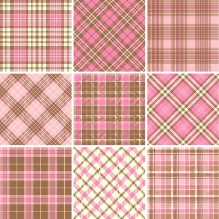 pink brown: Set of seamless tartan patterns