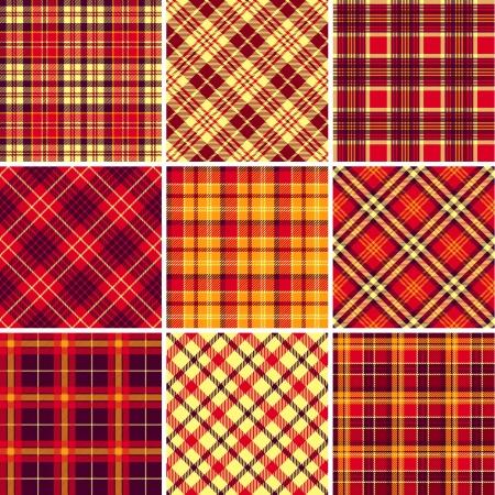 scotch: Set van naadloze tartan patronen Stock Illustratie