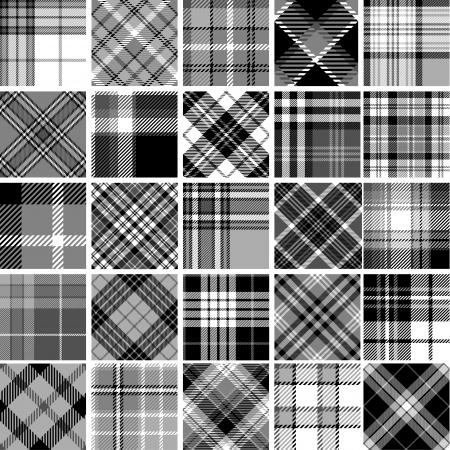 Black & white seamless tartan patterns Illustration