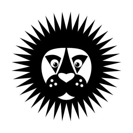 royal safari: Black & white Lion head icon