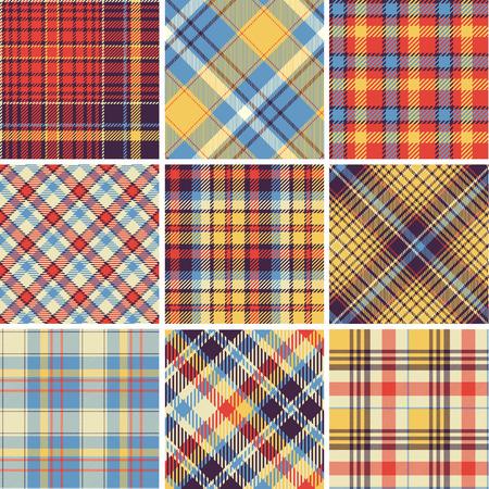 Set of seamless tartan patterns Vector