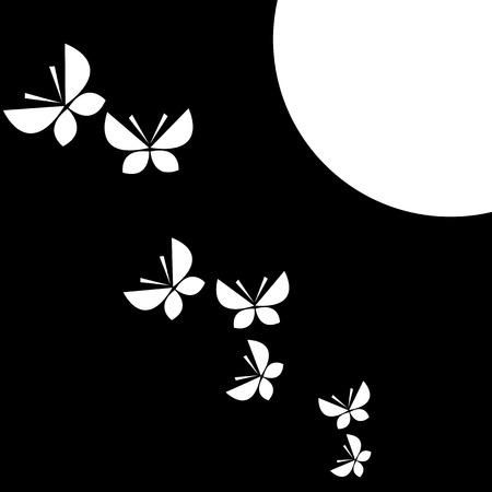 Moon and butterflies Vector