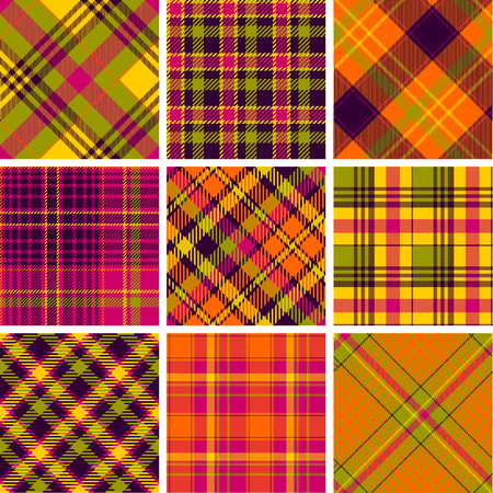 checkered pattern: Set of seamless tartan patterns