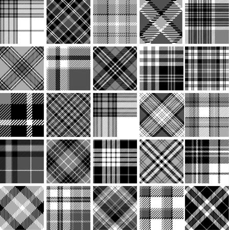 cuadros blanco y negro: Gran conjunto de patrones sin fisuras tartán