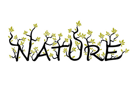 Nature text from branches and leaves