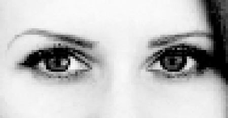 photorealistic: Realistic pixel woman eye Illustration